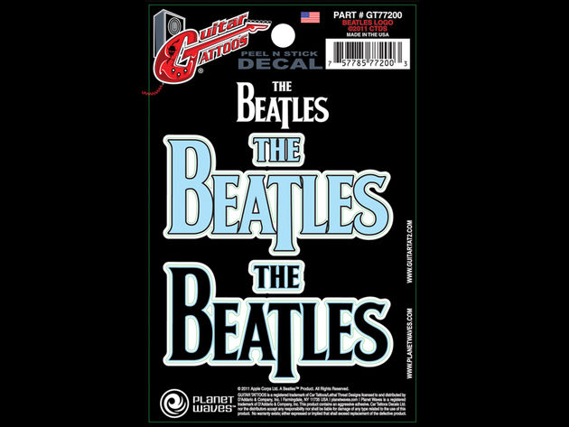 """Offering two tattoos in one, The Beatles Logo comes in light blue or black to complement any guitar."""