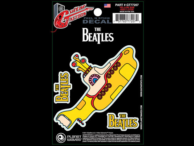 """Features a psychedelic yellow submarine from the famous album. Also includes two Beatles Logos in yellow."""