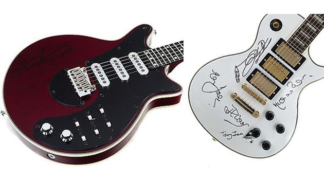 Brian May and Monty Python signed guitars are just two of the lots available
