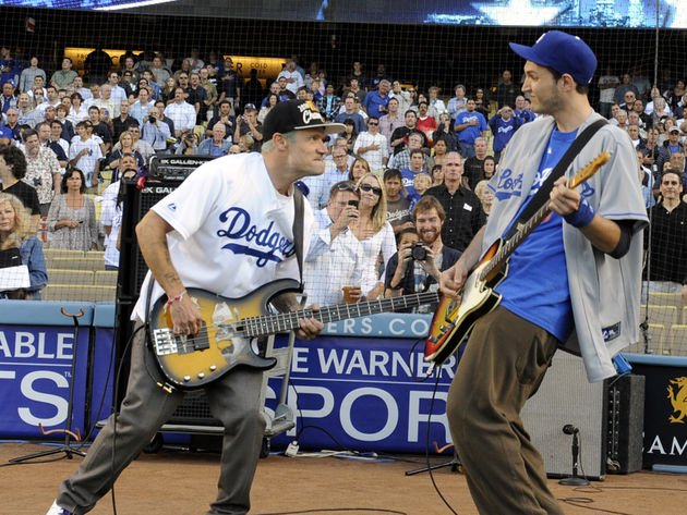 Flea and Josh Klinghoffer at the Dodgers stadium, LA, 2010