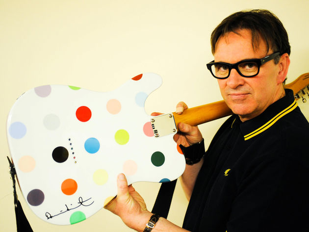Squueze's Chris Difford show's off the back of his Telecaster