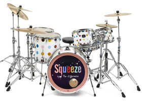 IN PICTURES: Squeeze's Damien Hirst-designed guitars and drum kit