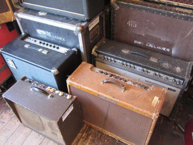 A selection of Gallagher's amps, guitars and other gear go up for sale.