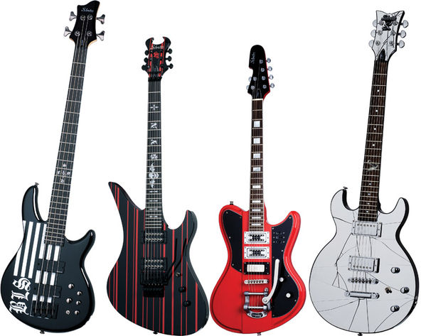 From left to right: JD Bulcher Bass, Synyster Gates Custom, Robin Finck Ultra III and the Zacky Vengeance ZV Mirror.