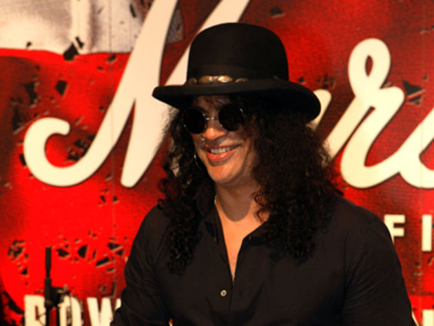 Slash at the Marshall stand at NAMM 2010