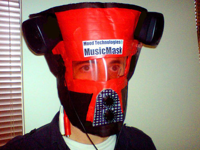 The MusicMask has stereo outputs and front-mounted level controls.