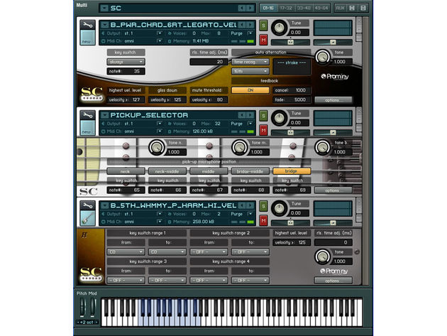 Kontakt 2 Player provides the sampling engine.