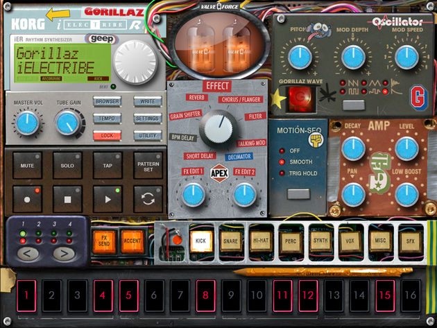 The Gorillaz Edition of Korg's iElectribe certainly has the band's signature look.