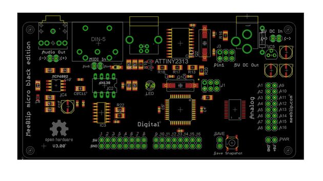 The new, more compact MeeBlip micro Black board
