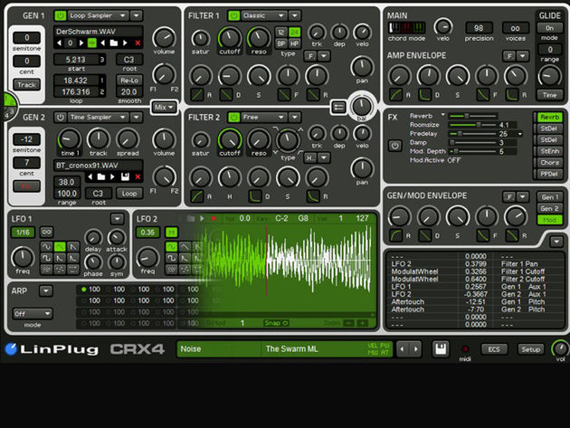 LinPlug CrX4: offers sampling in a synth.