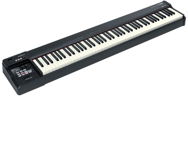 The Roland A-88 has progressive hammer action keys.