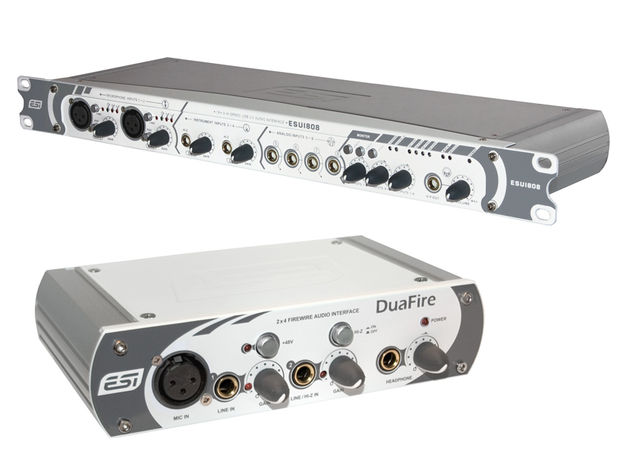 The ESU1808 (top) and DuaFire audio interfaces are new for 2008.