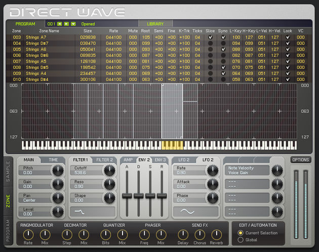 You can play but not edit sampler patches in Direct Wave Player.