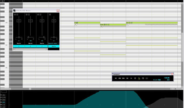 Editing in Vocaloid 2 takes place on a Piano Roll style interface.