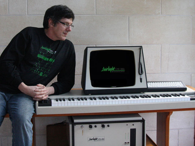 Peter Vogel, the 'father of the Fairlight', shows off his new baby.