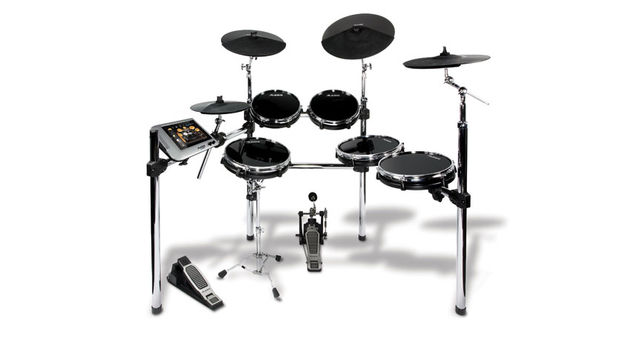 The DM Dock Kit is a six-drum, four-cymbal drum set based around the DM Dock, a drum module for iPad
