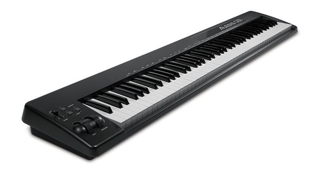 The Alesis Q88 is a piano-style USB/MIDI controller with 88 semi-weighted keys