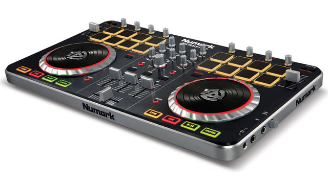 Mixtrack Pro II features a streamlined design with 16 backlit multifunction drum pads and illuminated touch-activated platters