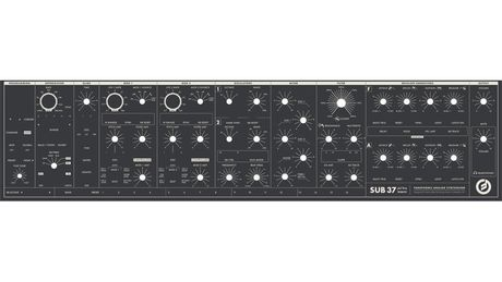 The Moog Sub 37, not in quite all of its glory.