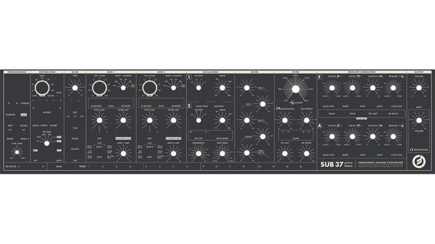 Ce qui semble être le panneau de contrôles frontal du Moog Sub 37