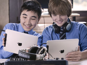 School children make music with 24 iPads