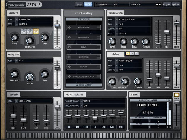 Z3TA+2  offers drag 'n' drop effects routing. Click the image for more screenshots.