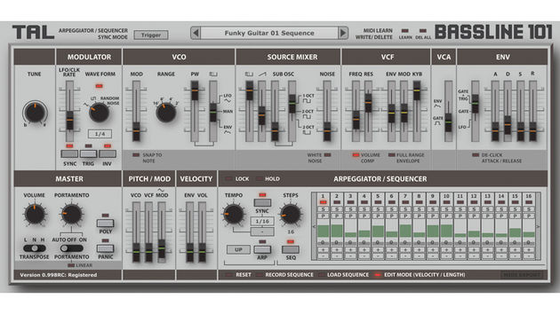 We can now get a proper look at the TAL-BassLine-101 interface.