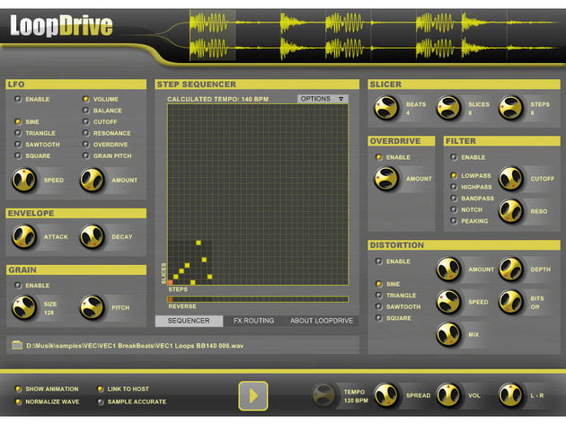 LoopDrive3 enables you to slice and process your beats.