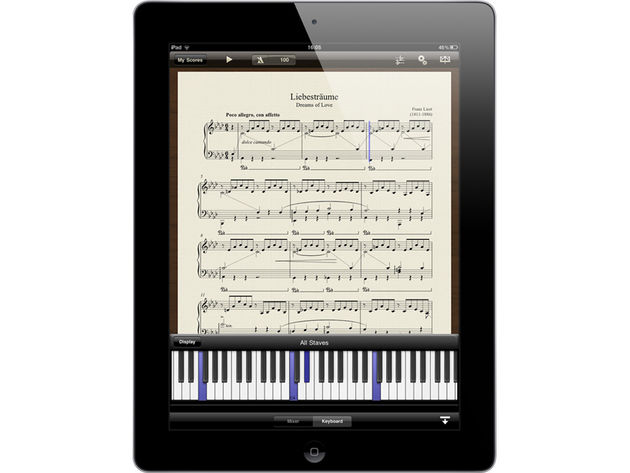 A virtual keyboard shows you which notes are currently being played.