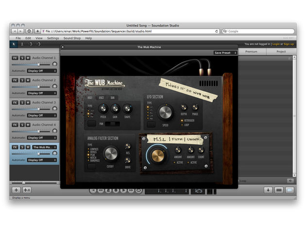 The Wub Machine can be opened from within Soundation Studio. Give it a try...