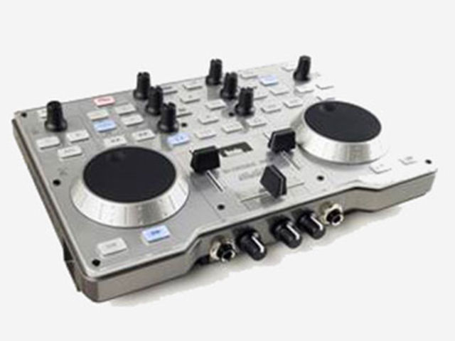 Two-deck DJ console with audio