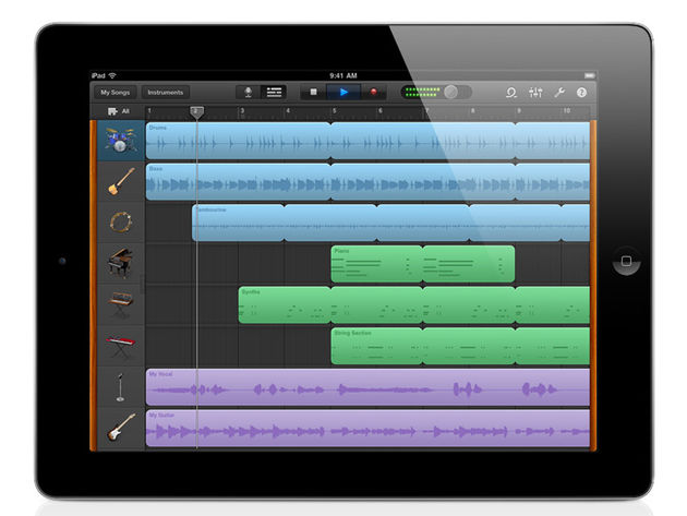Apple's iPad 2 running GarageBand.