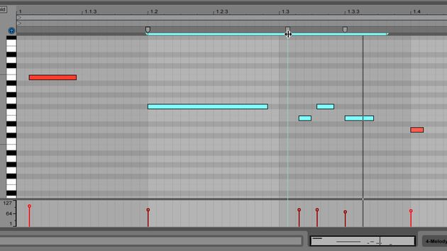 MIDI warp markers function in a similar way to Live's audio editing tools.