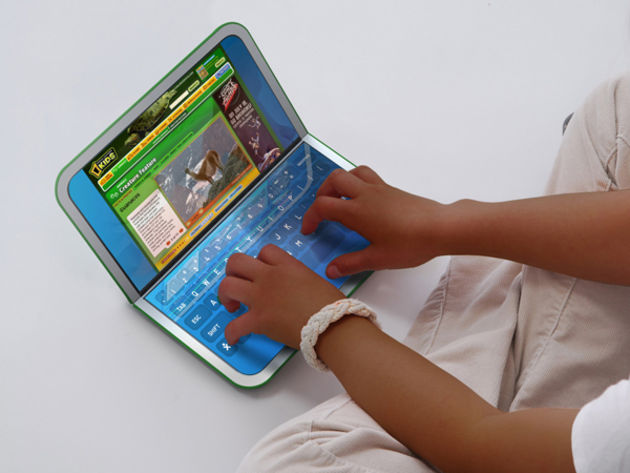 The new OLPC machine features a pair of touch screens.