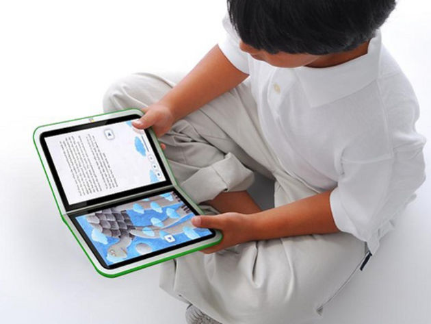 The laptop can be used in an e-book configuration.