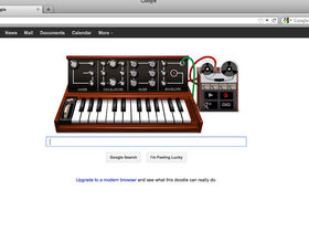 Moog chief engineer Cyril Lance demonstrates the Google Doodle