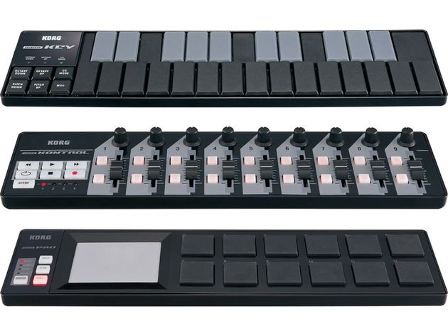 Back in black: the three Korg nanoSeries devices.