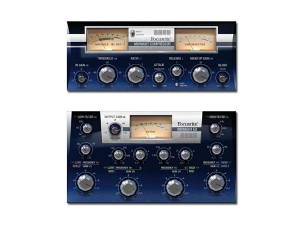 The Midnight plug-in suite contains a compressor (top) and EQ.
