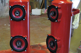 Fire extinguisher speaker