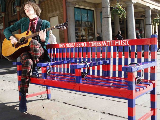 Typical. You want some street music and two types come along at once: guitarist and bench