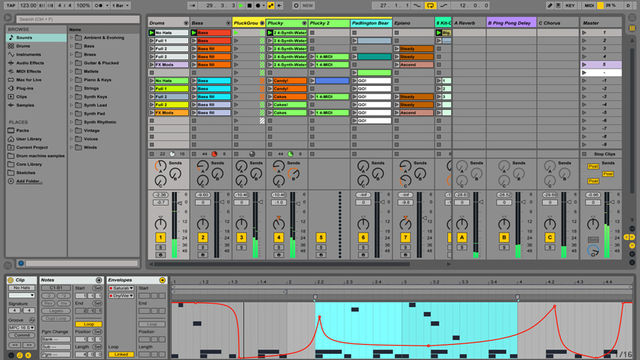 Ableton Live 9's Session view.