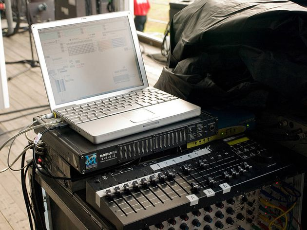 Jonny Greenwood keeps it old school with a PowerBook and a Kenton Control Freak.