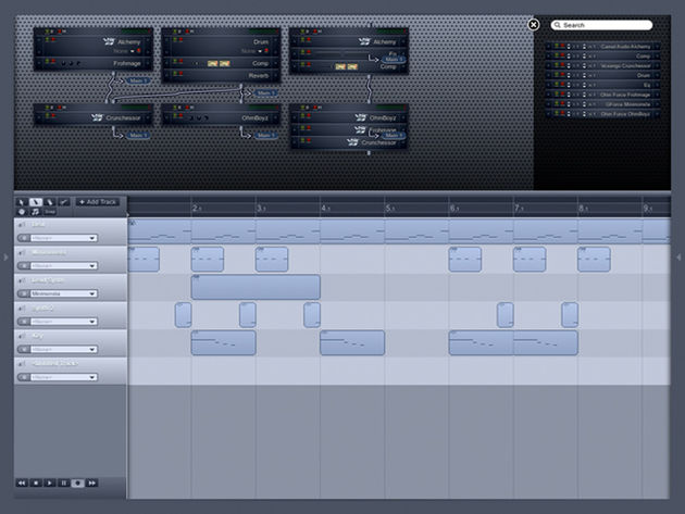 A multitrack project in Ohm Studio.