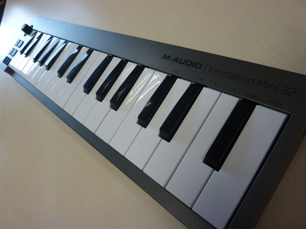M-Audio's Keystation Mini 32 is just about big enough to enable two-handed playing. Click the image for more photos.