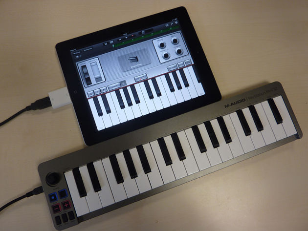 The Keystation Mini 32 works instantly with the iPad via Apple's Camera Connection Kit.