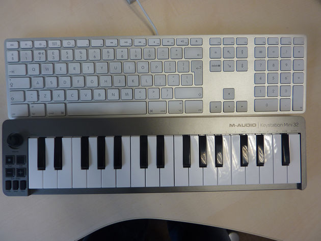 As you can see, the Keystation Mini 32 is marginally narrower than a standard Mac keyboard.