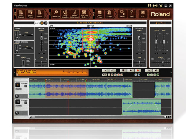 Roland R-Mix lets you 'visualise' the content of your stereo audio files. Click for additional images.