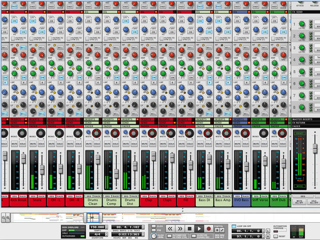 Record's mixer is modelled on an SSL 9000k.