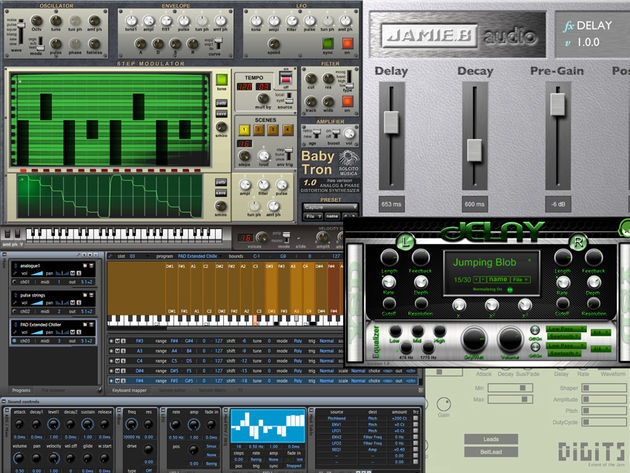 Phase distortion synths, a sampler and two delays