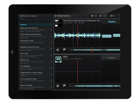 Traktor's notification window (left) guides new users through the app's features at their own pace.